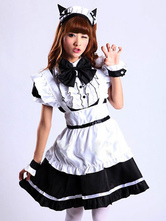 Anime Costumes AF-S2-576719 Color Block Chic Bows Cotton Maid Costume for Women