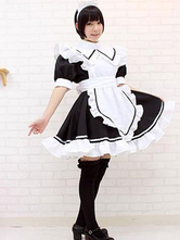 Anime Costumes AF-S2-576701 Color Block Ruffles Trendy Cotton Maid Costume for Women