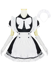 Anime Costumes AF-S2-576703 Color Block Ruffles Bows Cotton Maid Costume for Women