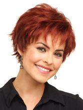 Fibra Borgoña elegante peluca corta para las mujeres