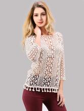 High-Low Women's White Crochet Top With Tassel Bottom
