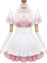 Anime Costumes AF-S2-576709 Pink Ruffles Bows Cotton Maid Costume for Women