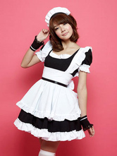 Anime Costumes AF-S2-576699 Color Block Ruffles Cotton Maid Costume for Women