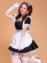 Anime Costumes AF-S2-576715 Color Block Ruffles Bows Chic Cotton Maid Costume for Women