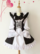 Anime Costumes AF-S2-576727 Color Block Ruffles Bows Flowers Cotton Maid Costume for Women