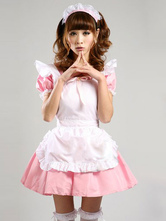 Anime Costumes AF-S2-576711 Pink Trendy Ruffles Bows Cotton Maid Costume for Women