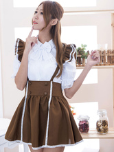 Anime Costumes AF-S2-576707 Color Block Bows Cotton Maid Costume for Women
