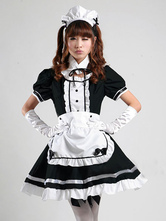 Anime Costumes AF-S2-576717 Color Block Ruffles Bows Cotton Cute Maid Costume for Women