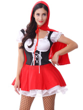Anime Costumes AF-S2-577129 Halloween Red Ruffles Sexy Polyester Princess Costume for Women