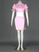 Chun-Li-de-rosa do falso couro Street Fighter traje Cosplay Halloween