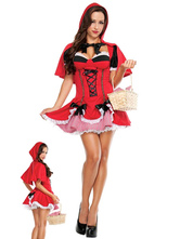 Anime Costumes AF-S2-577127 Halloween Red Ruffles Bows Polyester Princess Costume for Women