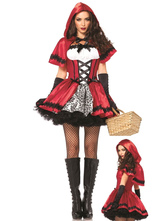 Anime Costumes AF-S2-577125 Halloween Red Trendy Ruffles Polyester Princess Costume for Women
