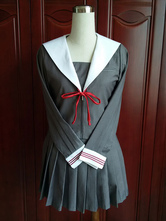 Anime Costumes AF-S2-578449 Gray Bow Pleated School Cloth Uniform Costume