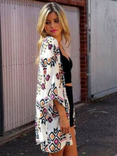 White Print Oversized Notched Cover Up for Women