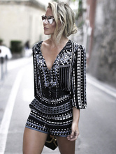 Women Black Romper 2019 Short Sleeve V Neck Printed Summer Playsuit