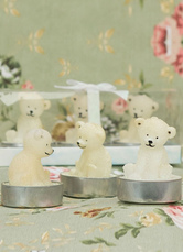 Ivory Bear Embossed Wax Candle Wedding Favors