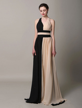 Multicolor Sash Cross Back Chiffon Satin Evening Dress