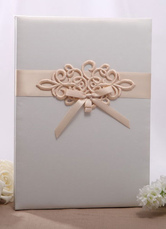 Champagne Embossed Pearl Paper Wedding Guest Book