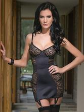 Leopardo negro correias impressão Lace Nylon espartilho vestido para as mulheres