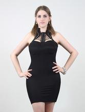 Nero elastico Bodycon vestito donne In pizzo collo