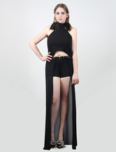 Veste à bretelles avant court derrière longue noire