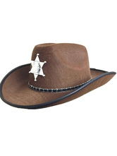 Anime Costumes AF-S2-579331 Halloween Taupe Star Cowboy Synthetic Cosplay Cap