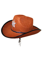 Anime Costumes AF-S2-579329 Halloween Brown Star Cowboy Synthetic Cosplay Cap