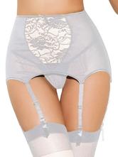 Light Gray Print Polyester Garter Belts for Women