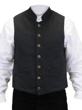 Anime Costumes AF-S2-579999 Victorian Costume Gilet Vintage Men's Black Button Sleeveless Waistcoat