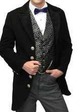 Anime Costumes AF-S2-580003 Victorian Black Royal Synthetic Coat Pageant Costumes For Men