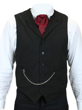 Anime Costumes AF-S2-580001 Steampunk Gilet Black Chains Waistcoat Retro Costume For Men