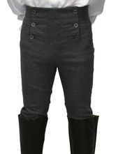 Anime Costumes AF-S2-579991 Baroque Black Buttons Cotton Pants Pageant Costumes For Men