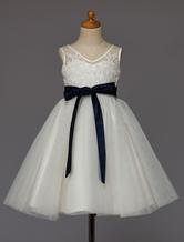 Marfim Flower Girl Dress Lace Tulle Tutu Vestido Ribbon Bow Sash Short Kids Party Dresses
