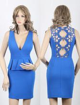 Falso blu-vestito due pezzi femminile aderente con Cut-Out pizzo indietro