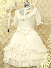 White Synthetic Lolita Dress With Layered Ruffles Flowers for Women