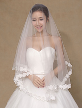 Ivory Lace Flowers Tulle Bridal Wedding Veil