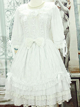 White Lolita Dress With Lace Bow Cotton for Women
