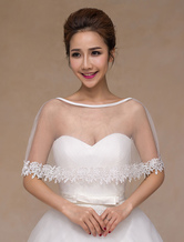 Ivory Tulle Sheer Chic Wedding Bridal Shawl for Women