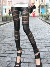 Black Leggings With Chic Lace Patchwork for Women