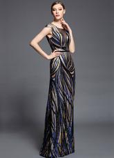 Vestido de baile de malha de cetim impressão multicolor   Vestidos de Convidados para Casamento