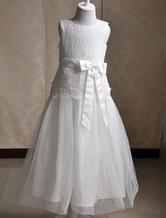 Blumenmädchen Elfenbein Kleid Schärpe Bogen Tüll-Kleid