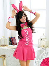 Anime Costumes AF-S2-581731 Halloween Pink Backless Lace Bunny Polyester Costume for Women