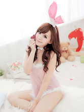 Anime Costumes AF-S2-581737 Halloween Light Pink Bunny Fur Backless Polyester Costume for Women
