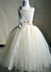 Champagne Flower Girl Dresses Tulle Party Dress Straps Flower Sash Kids Pageant Dresses