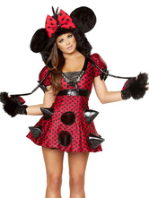 Anime Costumes AF-S2-582221 Halloween Red Mickey Mouse Polka Dot Polyester Trendy Costume for Women