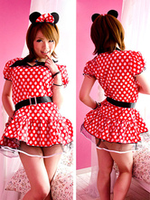 Anime Costumes AF-S2-582215 Halloween Red Mickey Mouse Sash Polka Dot Polyester Dress for Women