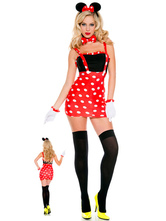 Anime Costumes AF-S2-582237 Halloween Red Straps Mickey Mouse Polka Dot Polyester Costume for Women