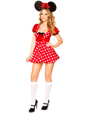 Anime Costumes AF-S2-582225 Halloween Red Mickey Mouse Polka Dot Bow Polyester Dress for Women