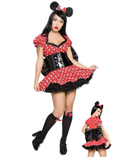 Anime Costumes AF-S2-582219 Halloween Red Mickey Mouse Polka Dot Bow Polyester Costume for Women