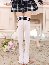 Anime Costumes AF-S2-582921 Halloween White Stripes Over-the-Knee Cotton Stockings for Women